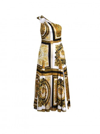 VERSACE BAROCCO MOSAIC PRINT JERSEY ONE-SHOULDER DRESS
