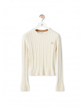 Cropped cable knit sweater in wool and cotton – ecru S359Y14K232370