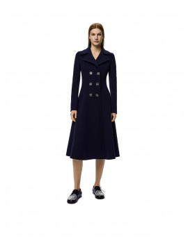 LOEWE Anagram double breasted coat in wool and cashmere – Navy blue S359336XD05110