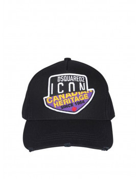 DSQUARED2 DOUBLE PATCH BASEBALL CAP IN BLACK 1209159