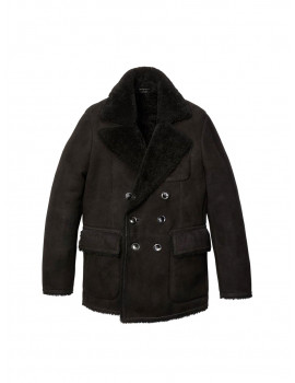 TOM FORD suede raw cut shearling peacoat 1204275