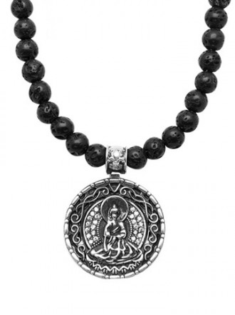 Necklace with Vintage Silver Plated Buddha Amulet