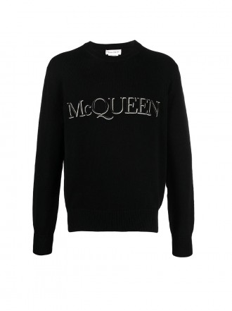 Alexander McQueen logo-embroidered knitted jumper 651184Q1XAY1011