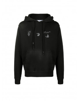 Off-White logo-print distressed-effect hoodie 1207655