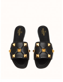 Valentino ROMAN STUD FLAT SLIDE SANDAL IN QUILTED NAPPA VW2S0BK4ZCG0NO