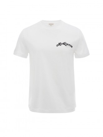 Alexander Mcqueen Men's McQueen Embroidery T-Shirt in White 1208858