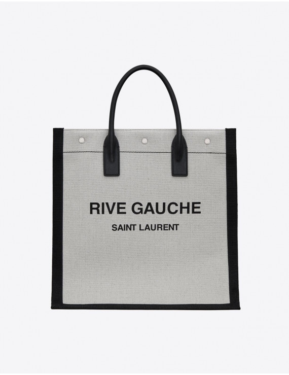 RIVE GAUCHE N/S TOTE BAG IN PRINTED LINEN AND LEATHER 1205970