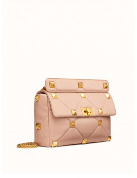 Valentino LARGE ROMAN STUD THE SHOULDER BAG IN NAPPA WITH CHAIN VW2B0I60BSFGF9