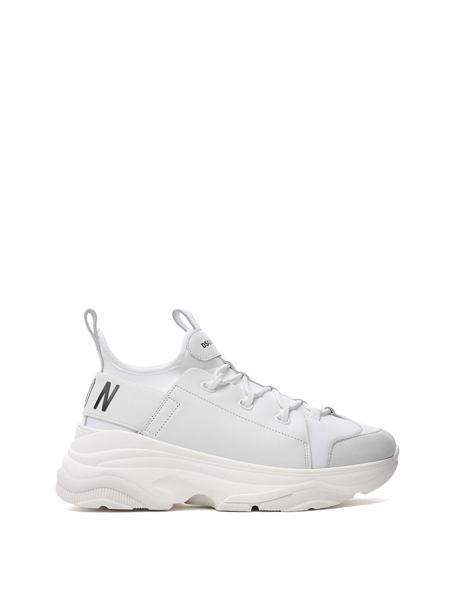 DSQUARED2 ICON WHITE LACE-UP LOW TOP SNEAKERS 1193407