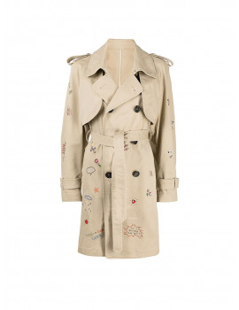 DSQUARED2 Logo-embroidered Trench Coat In Neutrals 1209384 50% OFF